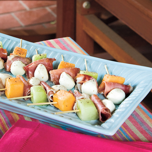 Melon, Mozzarella & Prosciutto Skewers from myrecipes.com