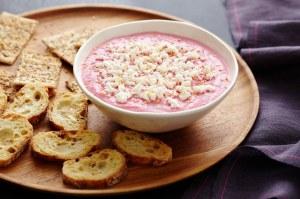 Epicurious - Chioggia Beet Borani with Feta and Toasted Sesame Seeds